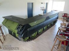 THE ULTIMATE MAN CAVE FUN FOR AN OLD SOLDIER - TANK BOTTOM FORMS THE BASE FOR THE BAR