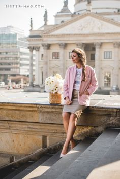 #Pink coat and pencil skirt for #sisterMAG12 candy jacket collection. At #Berlin #Gandarmenmarkt. Design: @eva eva N.  | Photo: @Cristopher Mabry Santos #DIY #Crafts #Pattern #Freebie #Berlin #DIY