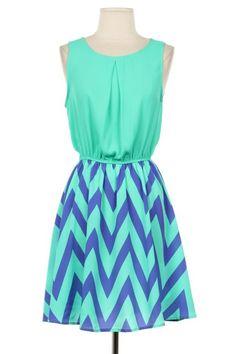Contrast Chevron Dress