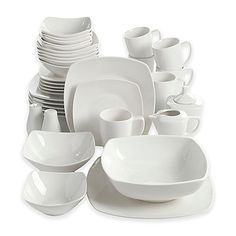 PURCHASED 2 sets Perfect for stylish, contemporary entertaining the Amalfa 37-Piece Dinnerware Set from Gibson Overseas is timelessly chic. This white ceramic dinnerware has a soft square shape that adds a modern touch to this service for 6.