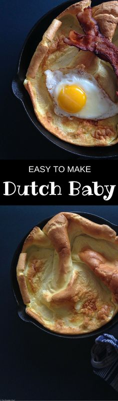 What is a dutch baby? It's a huge yorkshire pudding (popover) hiding itself as a pancake – for breakfast I like a savory dutch baby with eggs and bacon! #dutchbaby #dutchpancake #germanpancake #bruch #breakfast - thebeaderchef.com