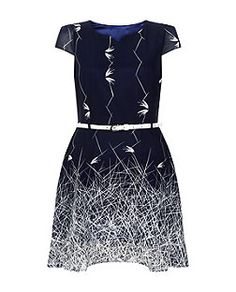 Tenki Blue Abstract Print Dress | New Look