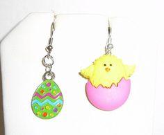 Easter Chick Egg Drop/Dangle Earrings with Enamel Easter bright color Egg #Handmade #DropDangle