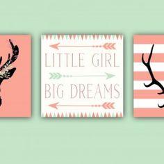 Baby Girl Nursery Decor – Coral and Mint – Antlers – Deer Head – Arrows -Little Girl Big Dreams – Nursery Quote Set of Three 12×12 Prints