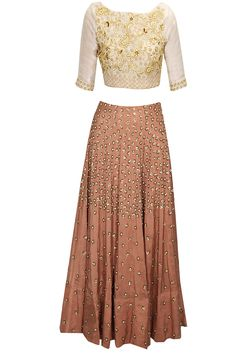 Off-white and burnt orange jaal embroidered lehenga set available only at Pernia's Pop-Up Shop.