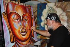working on the new BUDDHA painting
