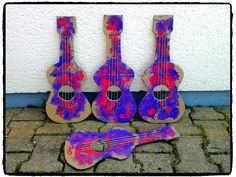 fabriquer sa guitare en carton, instrument de musique, fête de la musique, bricolage enfant