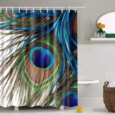 Fashionable Peacock Feather Shower Curtain 2