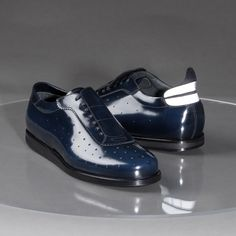 'Intera' Sneaker in Blue Polished Calfskin.