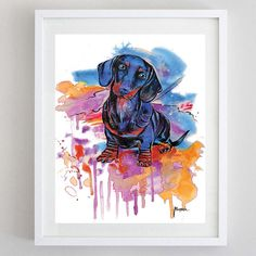 Dachshund Watercolor Painting Instant digital by BasovaArt on Etsy