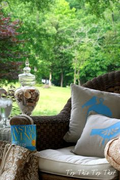 drop cloth pillows for the front porch