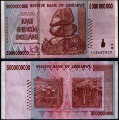 ZIMBABWE Five Billion Dollars Banknotes 5,000,000,000 Currency 1 X  Circulated