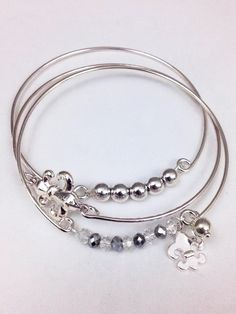 Fleurty Girl - Fleur de Lis Bangle Trio, $12