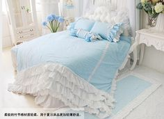 Find More Bedding Sets Information about  Blue ruffles princess Bedding 4pcs set Duvet cover pillow case kit King queen size cotton Home Bedding sets SWEET Bedskirt ,High Quality Bedding Sets from LAURA BAYTA KingBedding Store on Aliexpress.com