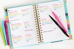 My Homeschool Planner - Emily Ley Weekly Planner and Color Coded PaperMate Flair Pens