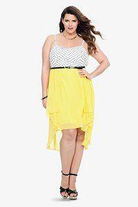 Geo Yellow Hi-Lo Tank Dress | Dresses
