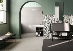 Cocci_B&W + Nero + Grigio Matte/Rectified Black And White Lines, Interior Decorating, Interior Design, Clawfoot Bathtub, Interior Inspiration, Contemporary Design, Two By Two, Tiles, Woodworking
