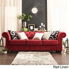 Knightsbridge Tufted Scroll Arm Chesterfield Sofa by iNSPIRE Q Artisan (Red Linen Sofa) (Fabric) Chesterfield Sofa, Tufted Sofa, Couch Sofa, Velvet Couch, Red Couch Living Room, Red Living Room Decor, Red Sofa Decor, Black And Red Living Room, French Living Rooms