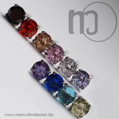 Ohrstecker mit rundem Stein in verschiedenen Farben-102xxx
