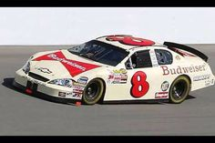 Dale Earnhardt Jr in a car painted like Ralph/Dale Sr