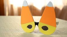 DIY Candy Corn-Themed Glasses for Halloween / Costume Parties! YouTube Tutorial: https://youtu.be/SdbGIx8oDz4