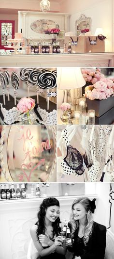 For my Alex <3 - black, white and pink bridal shower