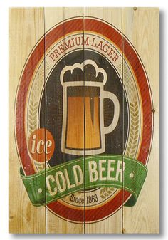 Wile E. Wood Cold Beer Wall Art