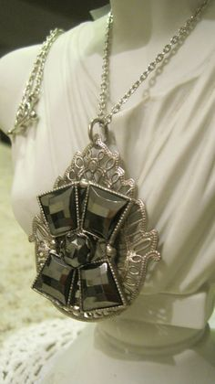 Antique Larger Pendant Silver Filigreed Large Pillow by 1900sBride, $68.00