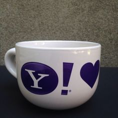 Yahoo-Mug-Cup-Love-Heart-You-Promo-Cafe-au-Lait-Size-14oz-Purple-Computer-Geek