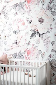 The Roscoe crib boasts a classic simplicity that goes with any nursery design while its mid-century modern touch brings extra pizazz. Available today at Ballerina Nursery, Girl Nursery, Baby Room Design, Nursery Design, Feminine Decor, Girl Sleeping, Nursery Wallpaper, Convertible Crib, White Home Decor