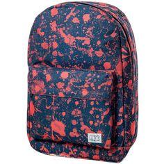 Spiral Orange Splatter OG Backpack ($34) ❤ liked on Polyvore featuring bags, backpacks, blue backpack, knapsack bags, blue bag, orange bag and rucksack bag
