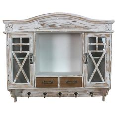 WOODEN WALL CABINET IN WHITE/BEIGE COLOR 75X17X65 - Showcases - Closets - FURNITURE