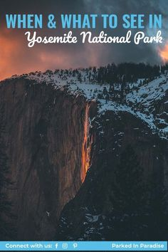 Capture beautiful fall photography. Ultimate guide for the best time to visit Yosemite National Park. Best hikes for summer, winter and fall. Plan an itinerary with this great map. Where to camp and things to do. Stunning waterfalls to visit. Yosemite National Park, National Parks, Tuolumne Meadows, Road Closure, Bus Tickets, Yosemite Valley, Fish Camp, Autumn Photography, Best Hikes