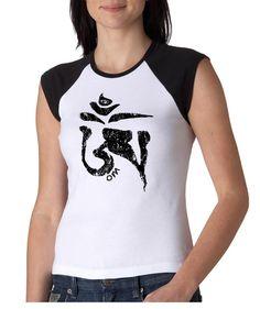 Ladies Yoga Shirt Black Tibetan Om Raglan Tee T-shirt Black Tibetan Om Ladies Yoga Shirts Ladies Yoga Shirt Black Tibetan Om Cap Sleeve Raglan Tee
