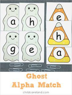 ghost alpha match for preschool and kindergarten