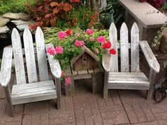 Childrens Adirondack chairs, a table and bird house planter made from a recycled picket fence