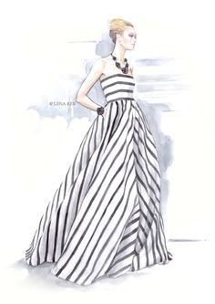 artwork by Lena Ker: inspiration - Oscar de la Renta Spring 2013