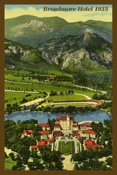 Broadmore Hotel - 1935 Postcard.  Printed on cotton.  Ready to sew.  Single 4x6 block $4.95.