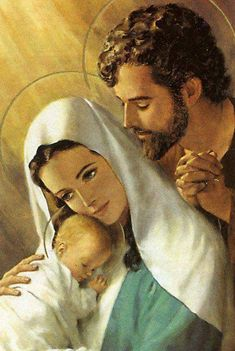 The Holy Family, St. Joseph, Virgin Mary and Infant Jesus Catholic . Religious Pictures, Jesus Pictures, Blessed Mother Mary, Blessed Virgin Mary, Catholic Art, Religious Art, Mama Mary, Mary And Jesus, Holy Mary