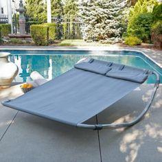 Outdoor Home Furniture Patio Powder-coated steel frame Sun Lounger Hammock Bed #Hammock