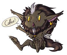 // Give him his coffee! Smol potato chibi Erius for @demons-fate / @blastuart