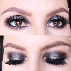Gunmetal smokey eye on with our making those eyes POP. Makeup Details: Shadows: Naked Smoky palette Brows: Tantalizing Taupe brow pencil + clear brow gel Lashes: House of Lashes Starlet Smoky Palette, Eye Makeup, Hair Makeup, House Of Lashes, Brow Gel, Eyebrow Pencil, Smoky Eye, Synthetic Hair