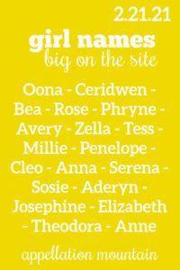 Sosie + Serena and more trending #girlnames #babynames #namingbaby #appellationmountain