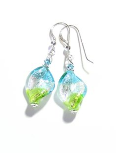 Murano Glass Colorful Aqua Green Twist Silver Earrings From JKC Murano