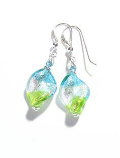 Murano Glass Colorful Aqua Green Twist Silver Earrings From JKC Murano