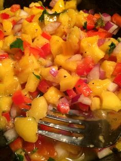 Mango Pico de Gallo (Very similar to Joe's Crab Shack for their Maui Mahi). RECIPE IN THE COMMENTS