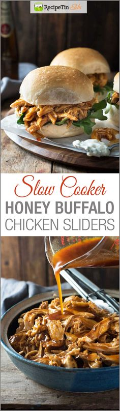 Slow Cooker Honey Buffalo Chicken Sliders - 5 minutes prep, set and forget! Great for game day or any event for feeding a crowd!