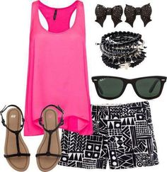 Hot Pink tank and tribal shorts with bow earrings #cute!!