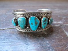 5 Stone Old Pawn Sterling Turquoise Cuff by KingsOfOblivion, $350.00