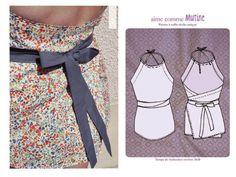 PATRON GRATUIT : Idées de couture facile pour l'été Bettinael.Passion.Couture.Made in france Couture Tops, Summer Diy, Simple Outfits, Diy Clothes, Diy Fashion, Celine, Blouse, Passion, France